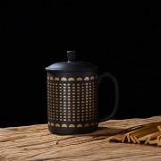 厂家直销紫砂大悲咒水杯 创意佛教温变带盖礼品水杯 会销活动礼品