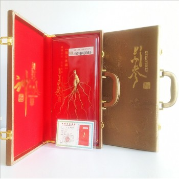 45cm金色皮盒 东北长白山人参 产地吉林带须人参 皮盒人参礼盒装