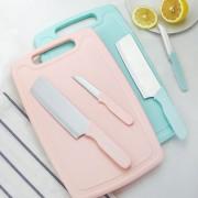 厂家直销 厨房刀具 菜板水果刀三件套 塑料菜板砧板套装礼品刀具