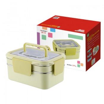祥河厨具304韩式双层不锈钢分层餐盘 学生饭盒微波炉加热保温便当盒