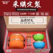 祥河厨具304不锈钢爱心便当五件套厨具礼品赠品保温手提炫彩碗*2