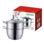 祥河厨具不锈钢复底汤蒸锅加厚双层蒸锅电磁炉通用礼品定制锅具