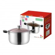 祥河厨具不锈钢复合钢汤锅无磁加厚防烫电木双柄汤锅实用开业礼品