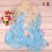春秋款七彩小蝴蝶雪纺丝巾小纱巾