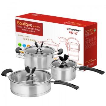 祥河厨具不锈钢三层不锈钢电木奶锅汤锅煎锅电磁炉锅套装不粘锅厨具