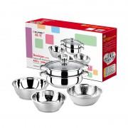 祥河厨具不锈钢双层汤蒸锅米筛三件套厨具28CM蒸汤两用锅