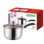 祥河厨具不锈钢加厚复合钢无磁防烫18CM电木单柄奶锅活动实用礼品