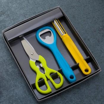 厂家直销美拉不锈钢水果刀3件套刀厨房小帮手小礼品果宝3件套