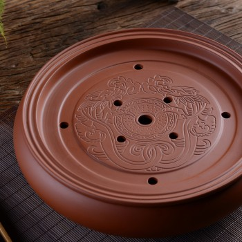紫砂圆形蓄水式茶盘 古风龙纹10-12英寸茶台 居家使用 高档活动礼品