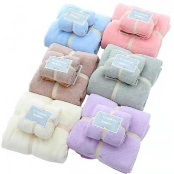 珊瑚绒毛巾+浴巾蕾丝袋子套巾礼品