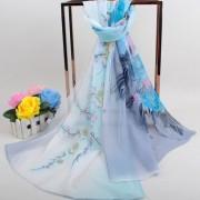 喜鹊牡丹花女士雪纺长丝巾(不带盒子)