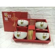招财猫碗筷套装4碗4筷