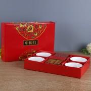 中国红福6碗6筷陶瓷套装 促销定制 可加logo