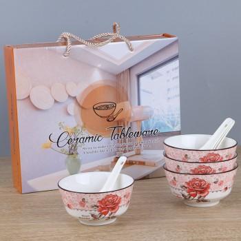 釉下彩陶瓷餐具4碗4勺套装可定制 LOGO