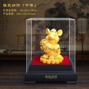 新品 绒沙金 十二生肖鼠 中号工艺品收藏