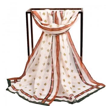 新款春季小蜜蜂雪纺小丝巾 礼品纱巾