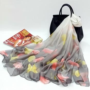 新款银杏叶大尺寸30D雪纺丝巾 防晒围巾披肩