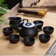 紫砂茶具 石瓢壶6杯仿木纹礼盒套装