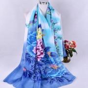 大尺寸喜鹊牡丹花雪纺丝巾 沙滩巾防晒披肩