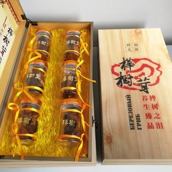 桦树茸礼盒6瓶装 桦褐孔菌 野生灵芝 桦树泪降三高