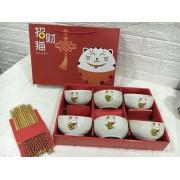 招财猫碗筷套装6碗6筷