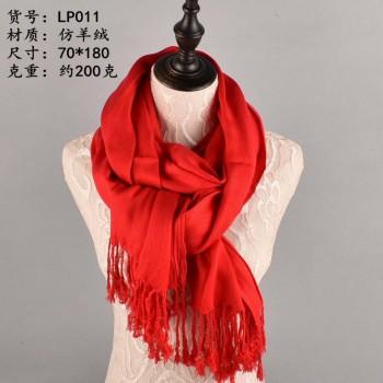 新款仿羊绒大红围巾 年会围巾