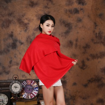 高档短须重磅仿羊绒年会红围巾 多色可选 单条克重约310克 可定制LOGO