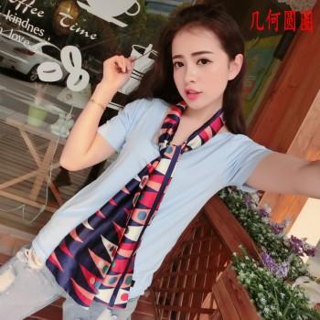 时尚韩版双层优质缎面百搭小领巾丝巾
